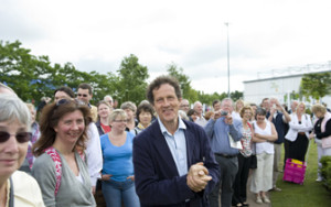 Show presenter Monty Don with visitors at BBC Gardeners' World Live